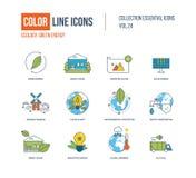 Linha fina ícones da cor ajustados Ecologia, energia verde, casa esperta, Imagens de Stock Royalty Free