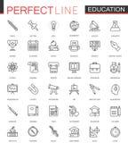 Linha fina ícones da educação da universidade da escola da Web ajustados Projeto do ícone do curso do esboço Fotos de Stock
