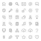 Linha fina ícones da Web ilustração stock