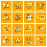 Linha fina ícones da Web do ensino eletrónico ilustração do vetor