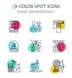 Linha fina ícones de organização dos eventos Imagens de Stock