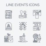 Linha fina ícones de organização dos eventos e das ocasiões especiais Fotografia de Stock Royalty Free