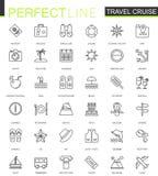 Linha fina ícones do cruzeiro do curso da Web ajustados Projeto do ícone do curso do esboço ilustração do vetor