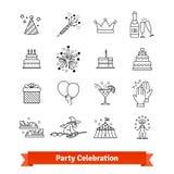 Linha fina ícones do partido da arte ajustados entertainment ilustração royalty free
