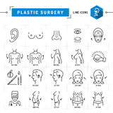 A linha fina ícones do preto do conceito da cirurgia plástica Vector símbolos médicos ilustração stock