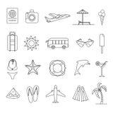 Linha fina ícones do verão Imagens de Stock Royalty Free