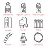 A linha fina ícones do vetor ajustou-se com acessórios e equipamento vaping ilustração royalty free