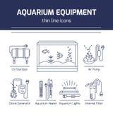 Linha fina ícones do vetor - equipamento do aquário ilustração stock