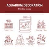 Linha fina ícones do vetor - ferramentas da decoração do aquário ilustração stock