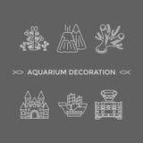 Linha fina ícones do vetor - ferramentas da decoração do aquário ilustração do vetor