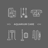 Linha fina ícones do vetor - ferramentas do cuidado do aquário ilustração royalty free