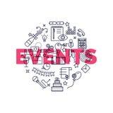 Linha fina ícones lisos dos eventos Imagens de Stock Royalty Free