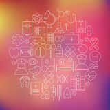 A linha fina ícones médicos dos cuidados médicos ajustou o círculo dado forma Imagem de Stock Royalty Free