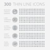 Linha fina ícones para o negócio, a tecnologia e o lazer Foto de Stock Royalty Free