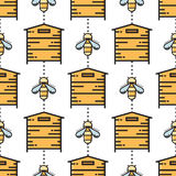 Linha fina abelha e teste padrão sem emenda da colmeia Imagem de Stock Royalty Free
