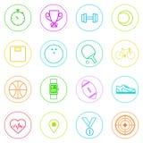 Linha fina ajustada ícones colorido simples da aptidão do esporte Fotos de Stock