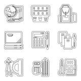 Linha fina ajustada ícones da escola Fotografia de Stock Royalty Free