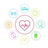 Linha fina ajustada ícones do App da aptidão do esporte do coração simples Fotografia de Stock