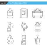 Linha fina ajustada ícone da entrega da água no fundo branco, Imagem de Stock Royalty Free