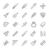 Linha fina ajustada estilo do ícone das ferramentas dos artigos de papelaria Foto de Stock