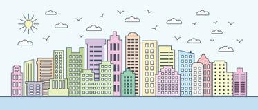 Linha fina arquitetura da cidade Arquitetura da cidade macia da cor imagem de stock royalty free