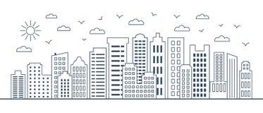 Linha fina arquitetura da cidade Paisagem urbana com construções do negócio Ilustração do vetor de construções modernas da cidade imagens de stock