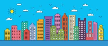 Linha fina arquitetura da cidade Paisagem urbana com construções do negócio Ilustração do vetor de construções modernas da cidade imagem de stock royalty free