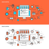 Linha fina bandeiras lisas do conceito de projeto para a compra em linha Foto de Stock