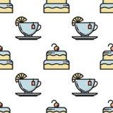 Linha fina bolo e teste padrão sem emenda do copo de chá Imagem de Stock Royalty Free