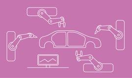 Linha fina cadeia de fabricação do carro do estilo Foto de Stock Royalty Free