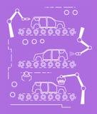Linha fina cadeia de fabricação do carro do estilo Foto de Stock