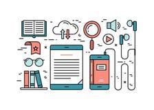 Linha fina conceito de projeto liso do áudio e dos ebooks Imagens de Stock