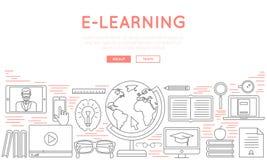 Linha fina conceito do estilo do ícone da educação e do ensino à distância em linha para o design web, cursos video Imagens de Stock Royalty Free