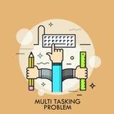 Linha fina conceito do problema a multitarefas ilustração stock