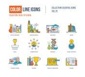 Linha fina ícones da cor ajustados Equipamento de escola, língua Imagem de Stock Royalty Free