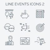 Linha fina e ícones lisos dos eventos Fotografia de Stock