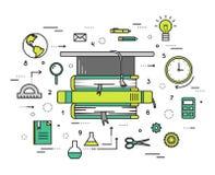 A linha fina educação objeta o conceito moderno da ilustração Maneira de Infographic do estudo ao conhecimento Ícones sobre ilustração do vetor