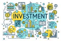 Linha fina estilo do conceito do investimento Negócio, gestão, planeamento financeiro, finança, operação bancária Propriedade e f ilustração royalty free