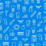 Linha fina fundo sem emenda do dente dos cuidados dentários do teste padrão Vetor ilustração do vetor