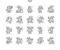 Linha fina grade 2x dos ícones 30 do vetor perfeito bem feito engraçado do pixel de Santa Claus para gráficos e Apps da Web ilustração stock