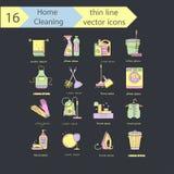 Linha fina grupo da cor da limpeza da casa do ícone do vetor Para empresas, lavanderias e serviço dos líquidos de limpeza secos Fotografia de Stock
