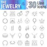 Linha fina grupo da joia do ícone, símbolos acessórios coleção, esboços do vetor, ilustrações do logotipo, sinais da joia lineare ilustração do vetor