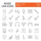 Linha fina grupo da música do ícone, símbolos coleção dos instrumentos musicais, esboços do vetor, ilustrações do logotipo, equip ilustração stock