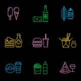 Linha fina grupo do ícone do menu do restaurante Fotografia de Stock Royalty Free