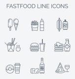 Linha fina grupo do ícone do vetor do menu do restaurante Imagem de Stock