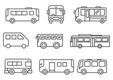 Linha fina grupo do ônibus dos ícones ilustração do vetor