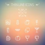 Linha fina grupo do alimento e da bebida do ícone Imagens de Stock