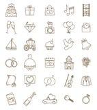 Linha fina grupo do casamento dos ícones Esboço com curso ajustável ilustração do vetor