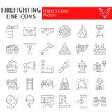 Linha fina grupo do sapador-bombeiro do ícone, símbolos coleção do bombeiro, esboços do vetor, ilustrações do logotipo, sinais de ilustração do vetor