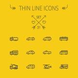Linha fina grupo do transporte do ícone Imagem de Stock Royalty Free